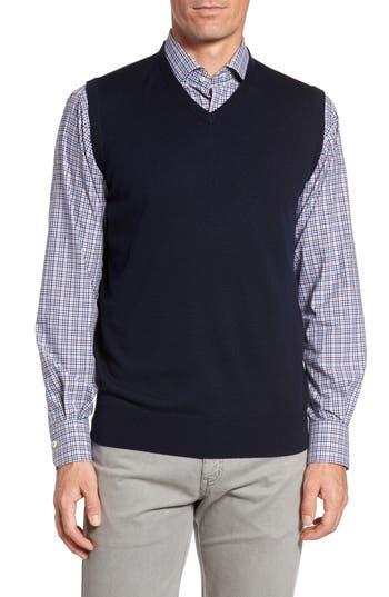 Peter Millar Crown Merino Blend Knit Vest, Blue