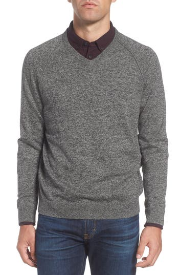 Big & Tall Nordstrom Shop Saddle Shoulder Cotton & Cashmere V-Neck Sweater, Black