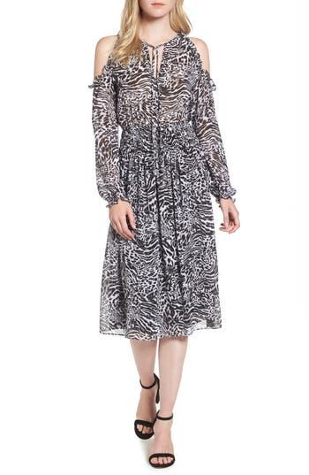 Michael Michael Kors Big Cat Print Cold Shoulder Dress, Black