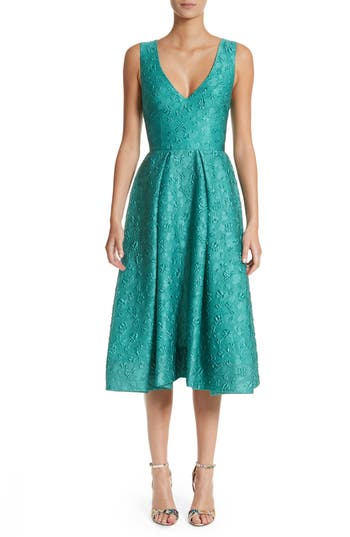 Women's Monique Lhuillier Matelasse A-Line Dress, Size 2 - Blue/green