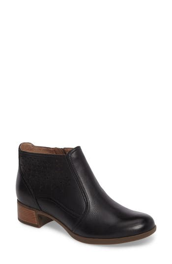 Dansko Liberty Laser Cut Bootie-6- Black