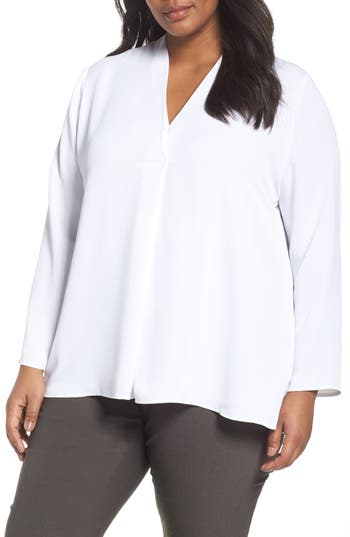Plus Size Women's Nic+Zoe Majestic Matte Satin Blouse, Size 1X - White