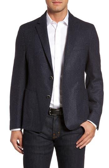 Men's Flynt Woven Wool & Silk Blend Sport Coat, Size 44 R - Blue