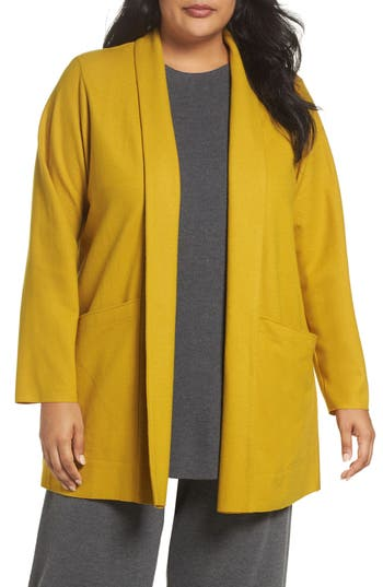 Plus Size Eileen Fisher Boiled Wool Jacket, Yellow