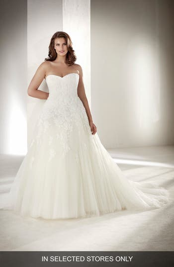 Pronovias Alcanar Strapless Lace & Tulle Gown, Size IN STORE ONLY - Ivory