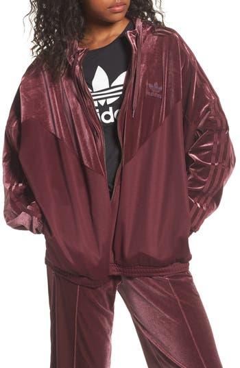 Adidas Originals Velvet Zip Sweatshirt, Red