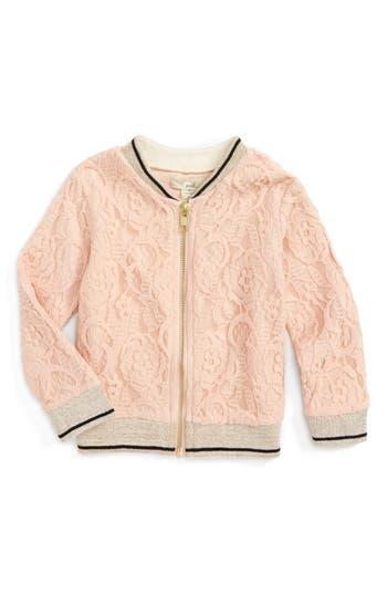 Infant Girl's Peek Lace Bomber Jacket, Size S (3-6m) - Pink