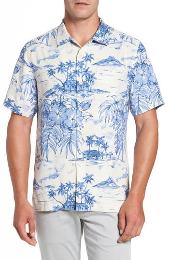 Men's Big & Tall Tommy Bahama Destination Hawaii Classic Fit Silk Camp Shirt, Size 1XB - White