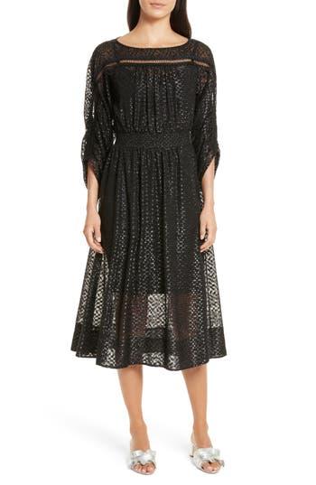 Tracy Reese Long Sleeve Metallic Dot Midi Dress, Black