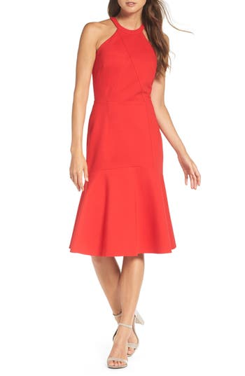 Adelyn Rae Halter Ponte Midi Dress, Red
