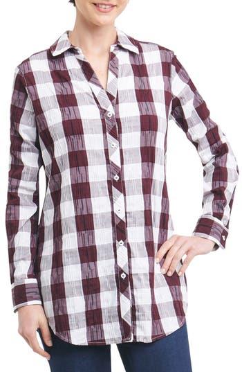 Foxcroft Fay Crinkle Plaid Stretch Cotton Blend Tunic Shirt, Burgundy