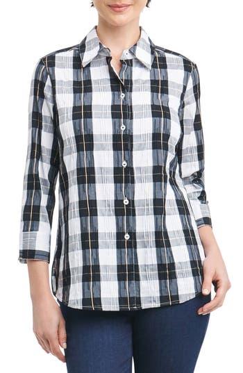 Foxcroft Sue Shaped Fit Crinkle Plaid Shirt, Black
