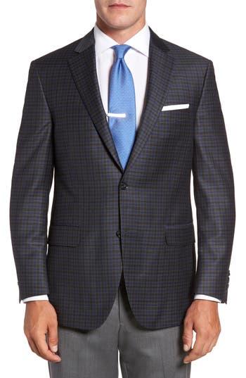 Big & Tall Peter Millar Flynn Classic Fit Plaid Wool Sport Coat, 4 R - Grey