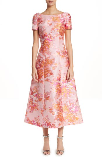 St. John Collection Washed Bouquet Jacquard Dress, Coral