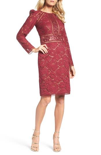 Tadashi Shoji Rose Lace Sheath Dress, Burgundy