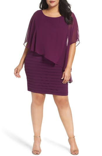 Plus Size Adrianna Papell Chiffon Overlay Shutter Pleat Sheath Dress, Purple