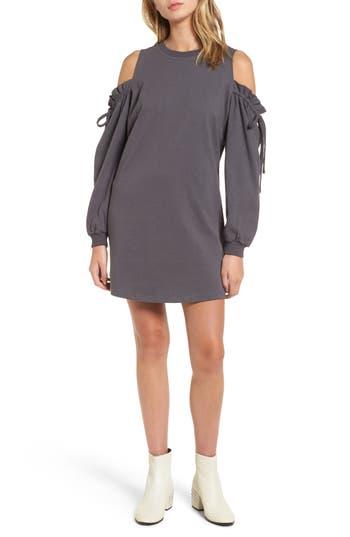 Cold Shoulder Sweatshirt Dress, Grey