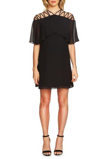 Cece Taylor Lattice Chiffon Shift Dress, Black
