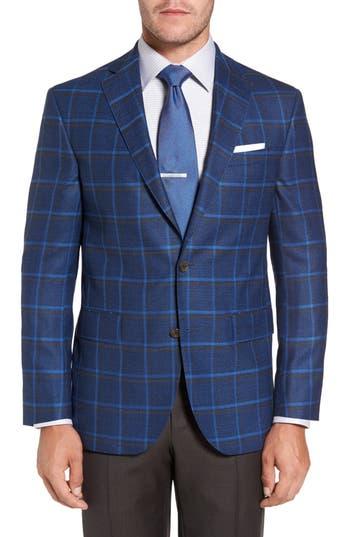 Big & Tall David Donahue Connor Classic Fit Plaid Sport Coat, 0 R - Blue