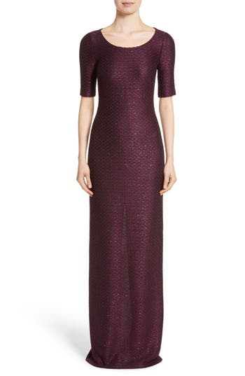 St. John Evening Scooped Neck Hansh Knit Column Gown, Purple