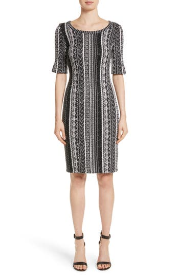 St. John Collection Ombre Stripe Tweed Knit Dress, Black