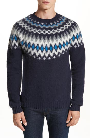 Norse Projects Nirnir Fair Isle Lambswool Sweater, Blue