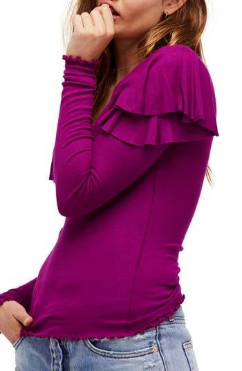 Women's Free People On Rewind Ruffle Top, Size X-Small - Burgundy