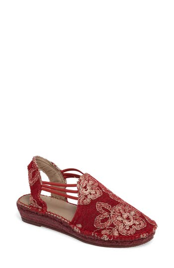 Toni Pons Metz Embroidered Espadrille Wedge Red