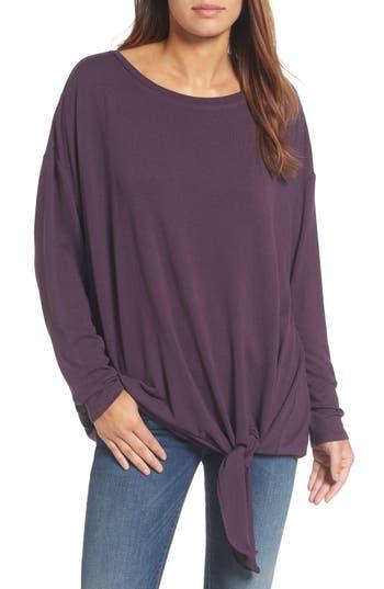 Caslon Tie Front Sweatshirt, Purple