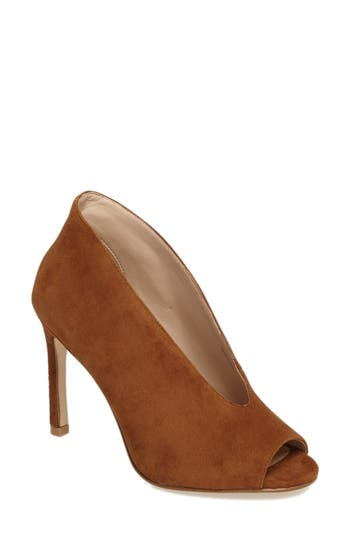 Pelle Moda Elvia Peep Toe Pump, Brown