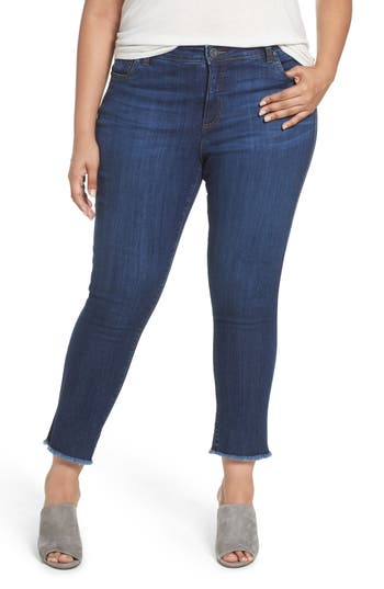 Plus Size Kut From The Kloth Reese Frayed Ankle Jeans, Blue