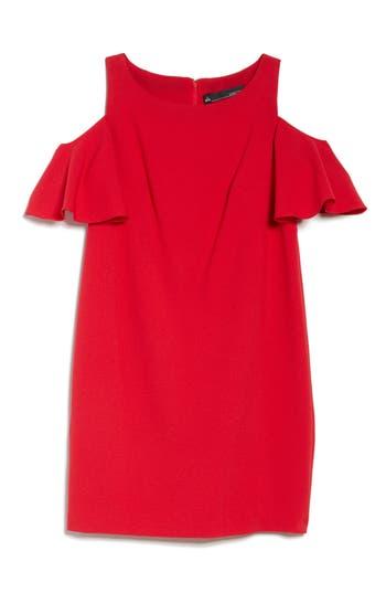 Chetta B Ruffle Cold Shoulder Shift Dress, Red
