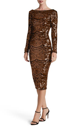 Dress The Population Emery Scoop Back Sequin Midi Dress, Brown