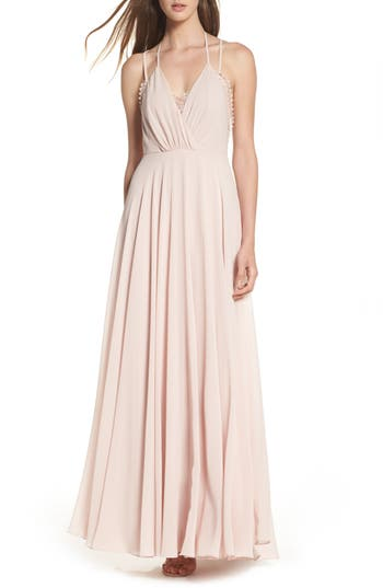 Lulus Celebrate The Moment Lace Trim Chiffon Maxi Dress, Pink