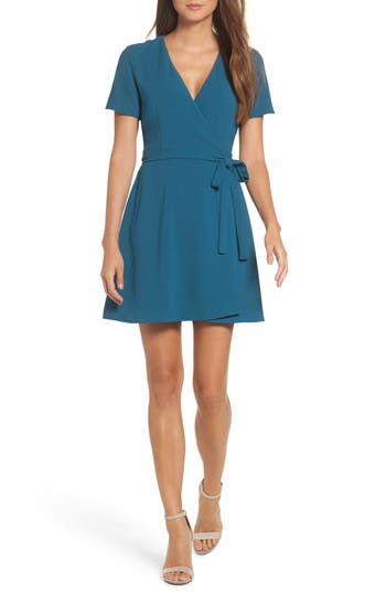 Charles Henry Crepe Wrap Dress, Blue