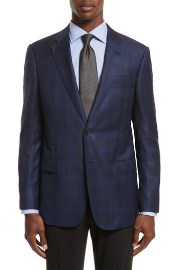 Armani Collezioni Trim Fit Houndstooth Wool Sport Coat, 0 US / 5 R - Blue