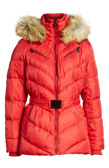 Vince Camuto Belted Down & Feather Fill Coat With Faux Fur Trim Hood, Red