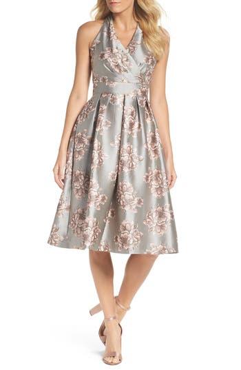 Chetta B Metallic Floral Fit & Flare Dress, Metallic