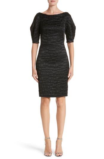 Talbot Runhof Mosaic Jacquard Sheath Dress, Black