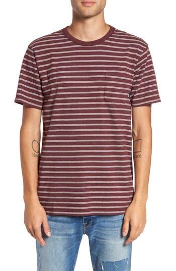 Vans Lined-Up Stripe Pocket T-Shirt, Burgundy