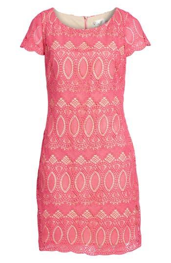 Eliza J Scalloped Lace Sheath Dress, Pink
