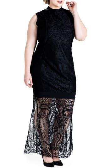Plus Size Standards & Practices Clover Lace Maxi Dress, Black