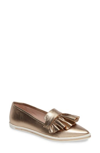 Women's James Chan Taraji Ruffle Slip-On Sneaker, Size 6 M - Metallic