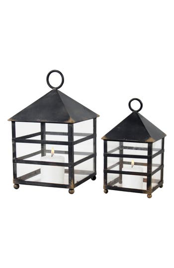 Foreside Naturalist Set Of 2 Lanterns, Size One Size - Black