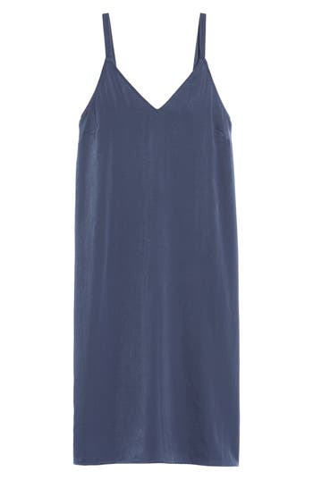 Women's Everly Satin Midi Slipdress, Size Small - Blue