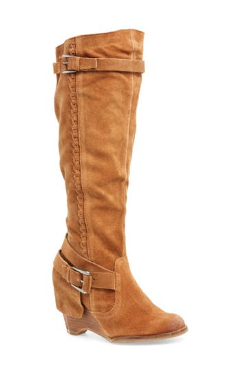Naugty Monkey Double Up Knee-High Wedge Boot- Brown