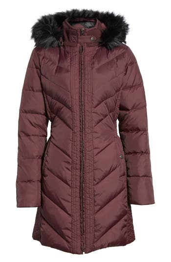 Larry Levine Faux Fur Trim Hooded Jacket, Burgundy