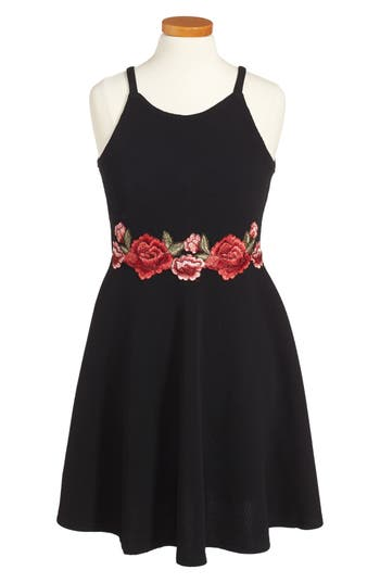 Girl's Soprano Embroidered Skater Dress, Size S (8-10) - Black