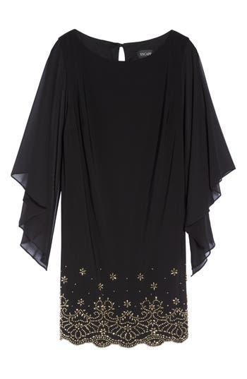 Plus Size Xscape Embellished Chiffon Shift Dress