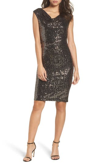 Eliza J Drape Neck Sequin Embellished Sheath Dress, Metallic